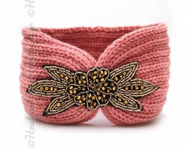 Headband tricot applique perlée rose