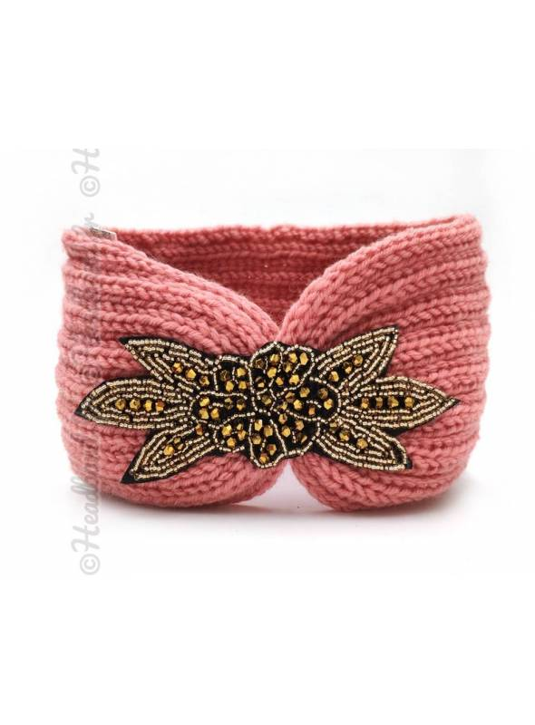 Headband tricot applique perlée rose