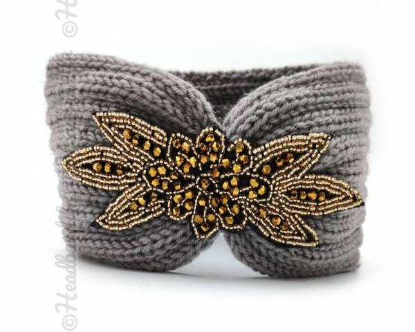 Headband tricot applique perlée gris