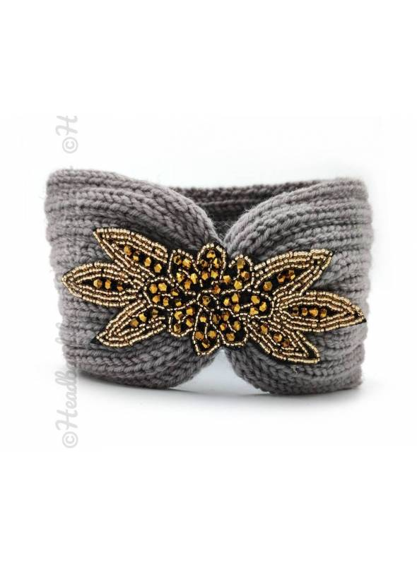 Headband tricot applique perlée gris