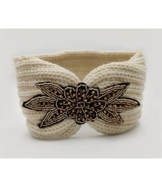 Headband tricot applique perlée beige