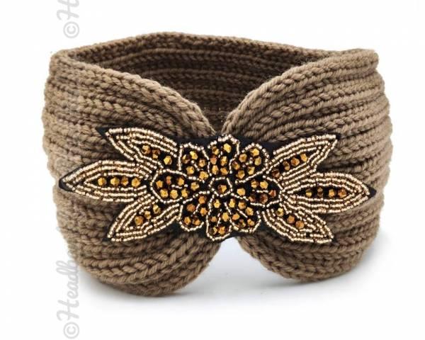Headband tricot applique perlée kaki