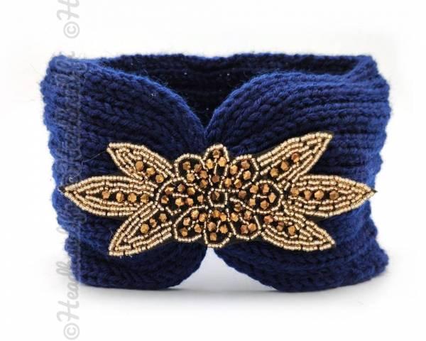 Headband tricot applique perlée marine