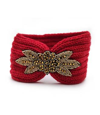 Headband tricot applique perlée rouge