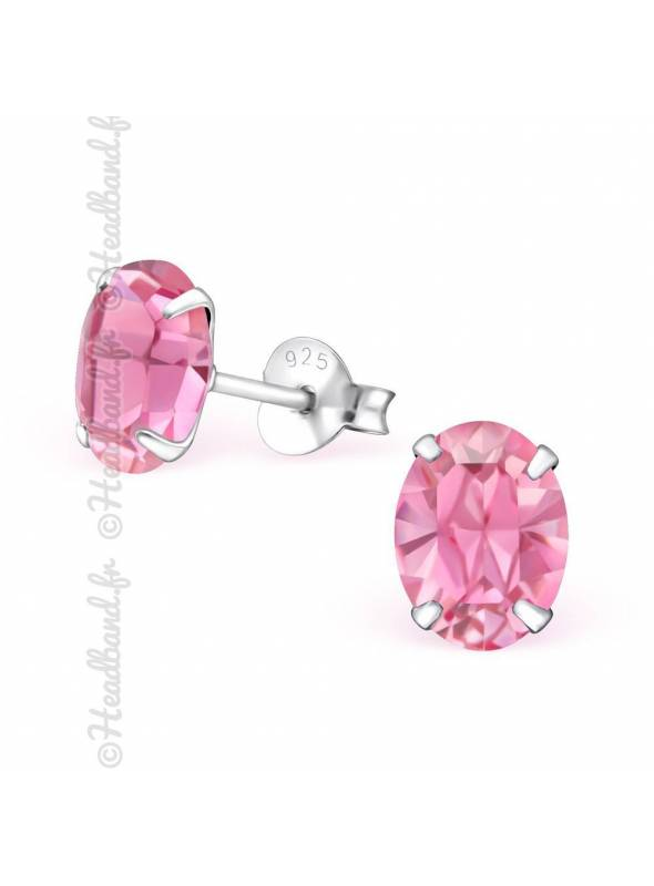 Boucles d'oreilles cristal ovale Swarovski rose