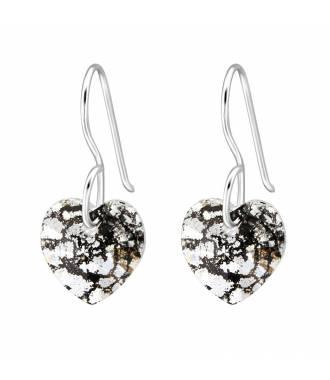 Boucles d'oreilles pendentif coeur Swarovski black patina