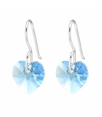 Boucles d'oreilles pendentif coeur Swarovski aquamarine