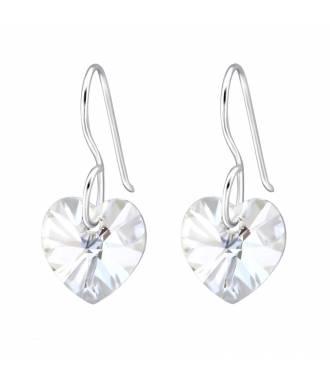 Boucles d'oreilles pendentif coeur Swarovski moonlight