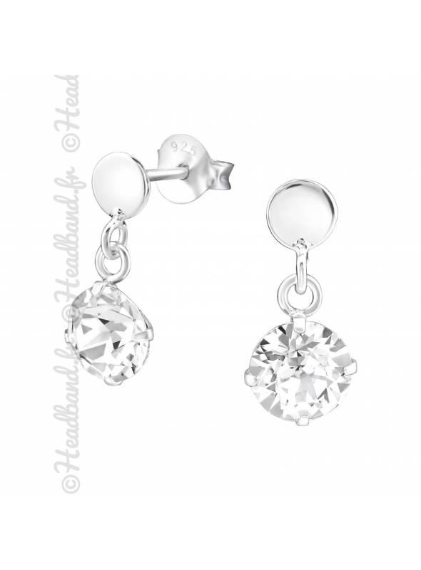 Boucles pendantes Swarovski stud cristal blanc