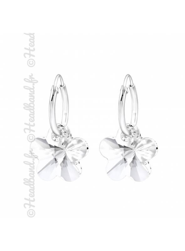Créoles cristal étoile Swarovski rose clair