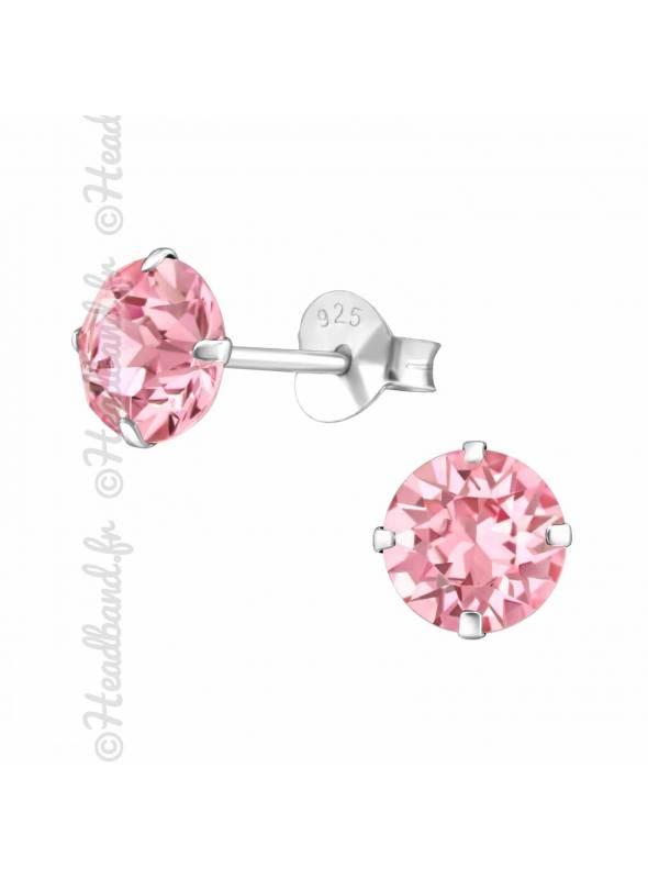 Clous d'oreilles pierre ronde Swarovski rose clair