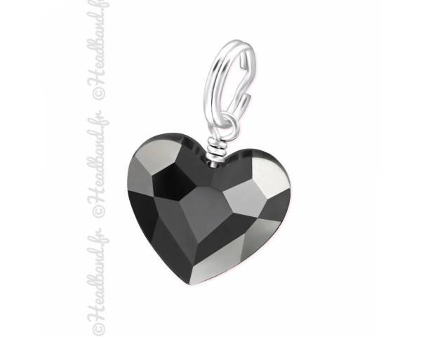 Charms Swarovski cristal coeur silver night