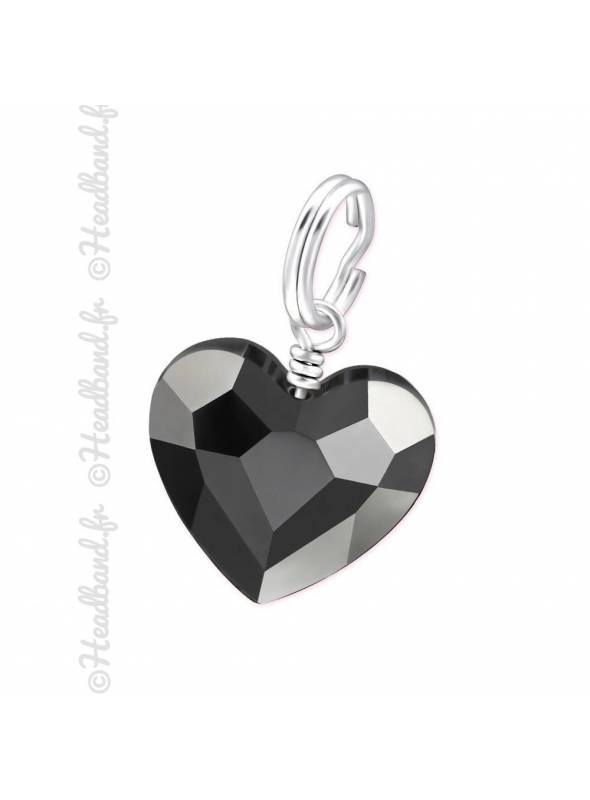Charms Swarovski cristal coeur silver night