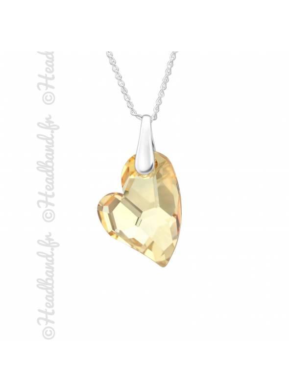 Chaîne avec pendentif coeur Swarovski golden shadow