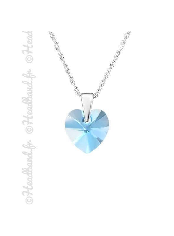 Chaîne avec pendentif coeur Swarovski aquamarine