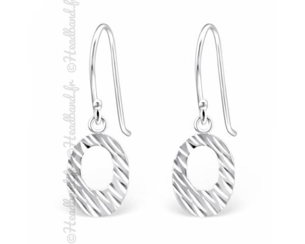 Boucles d'oreilles pendentif ovale strié argent