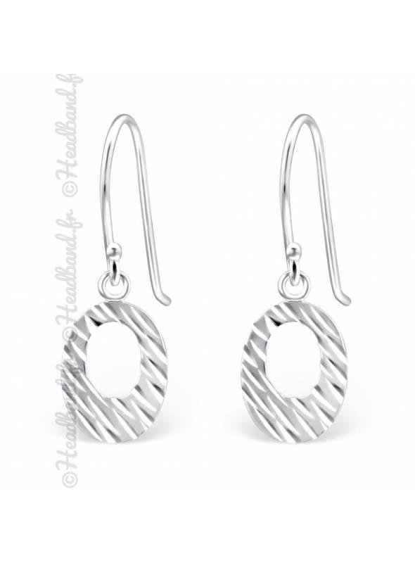 Boucles d'oreilles pendentif ovale argent massif