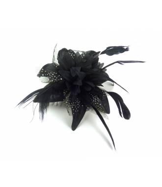 Peigne fleur noire