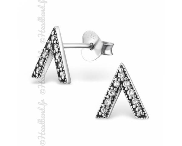 Clous d'oreilles triangle zirconium argent massif