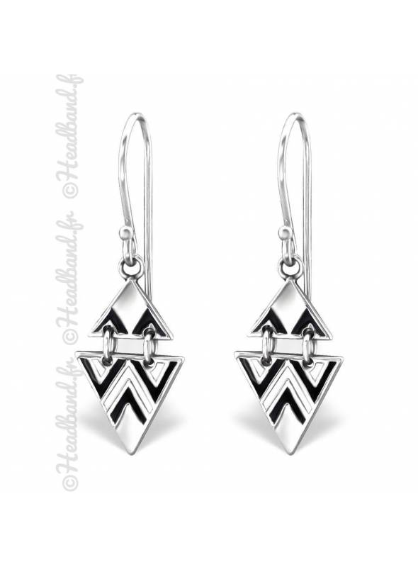 Boucles triangles ethniques argent massif