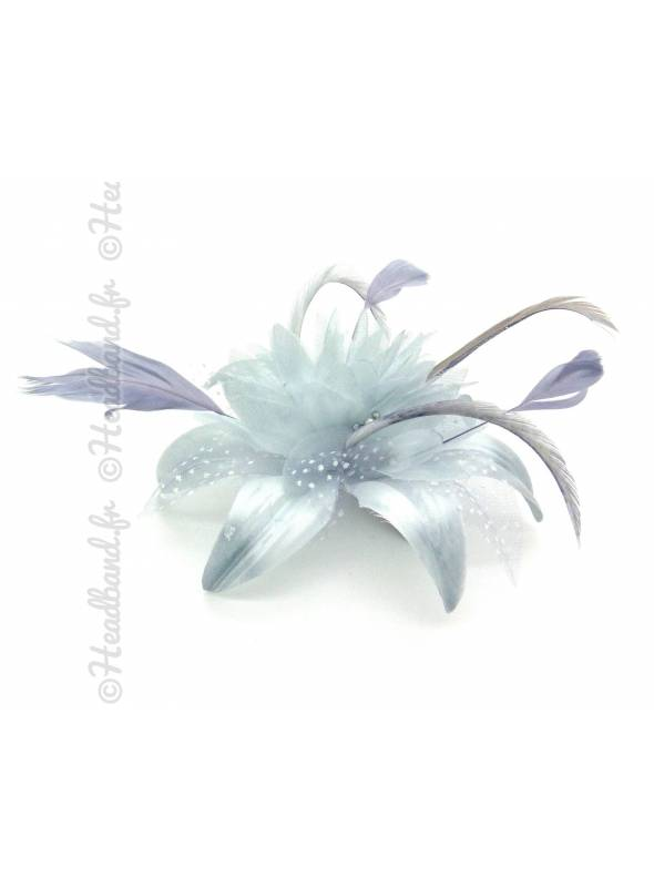 Peigne fleur grise