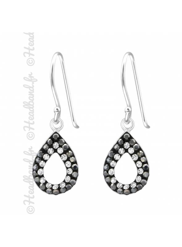 Boucles d'oreilles duo de cristaux argent massif
