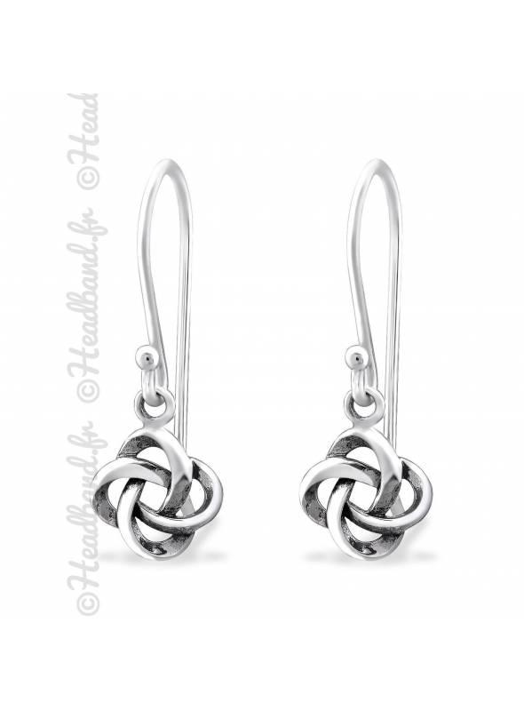 Boucles d'oreilles noeud celtique argent massif
