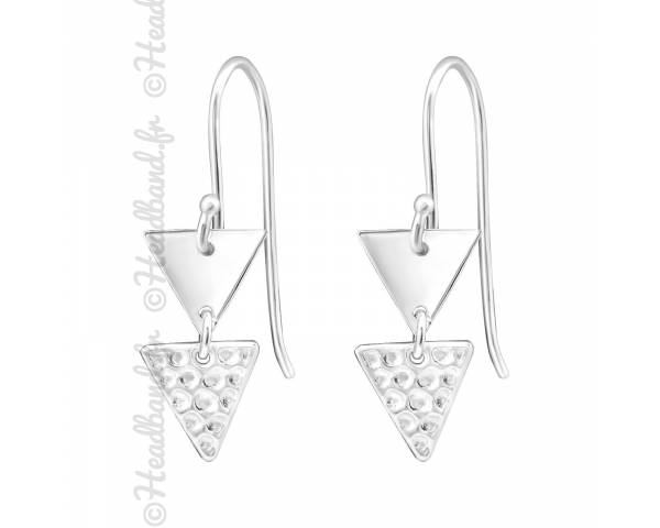 Boucles d'oreilles double triangle argent massif