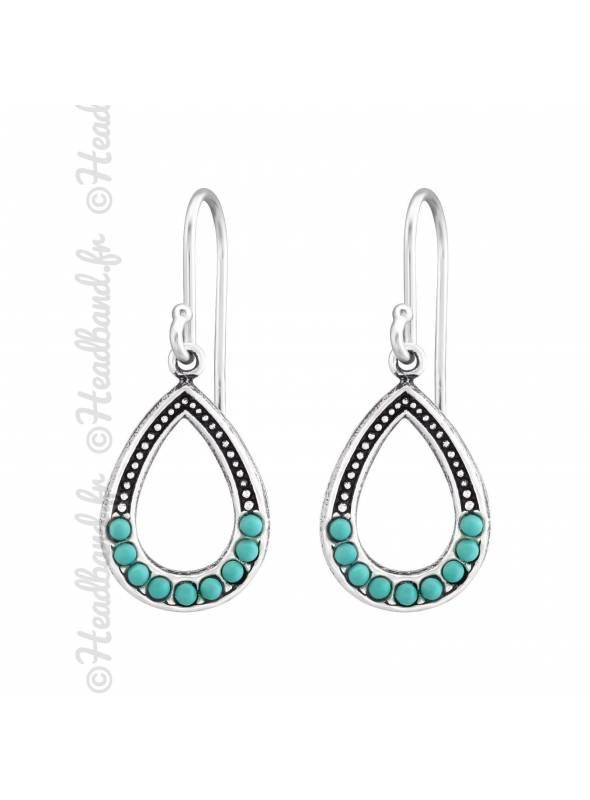 Boucles d'oreilles ovales perles turquoise argent massif