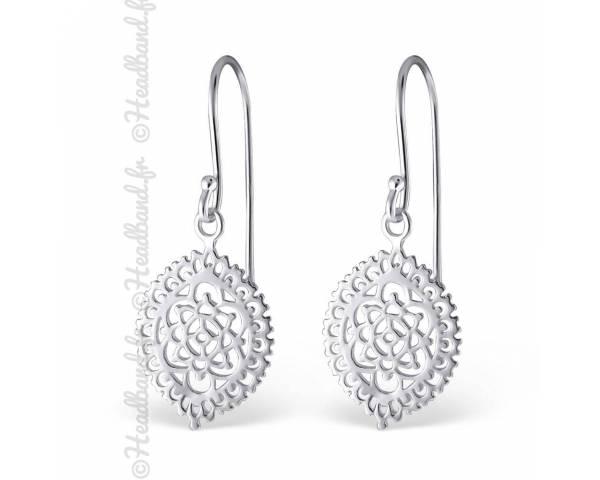 Boucles d'oreilles motifs floraux argent massif