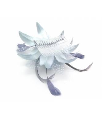 Peigne fleur grise 2