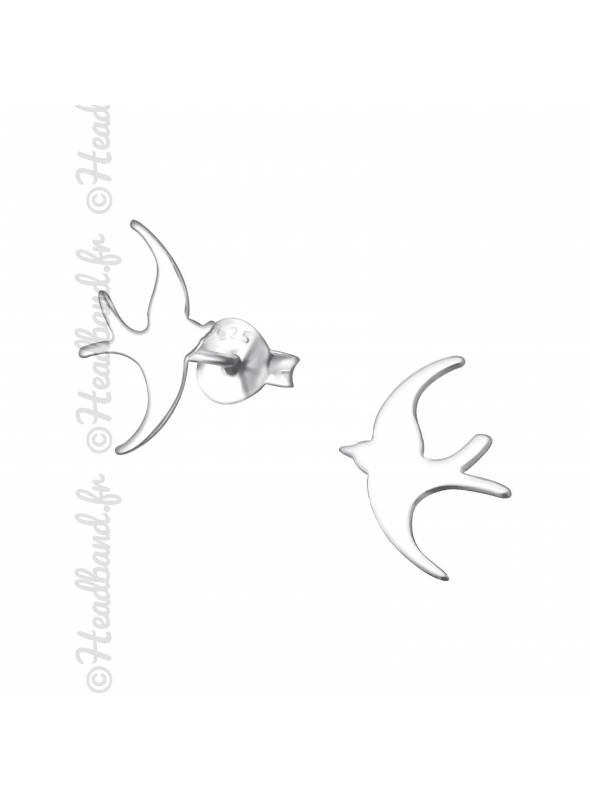 Clous d'oreilles motif hirondelle argent 925