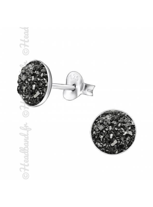 Clous d'oreilles rond druzy pierres grises argent massif