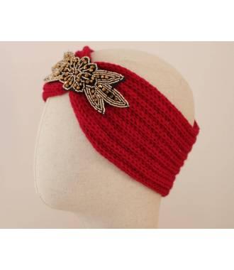 Headband tricot applique perlée rouge