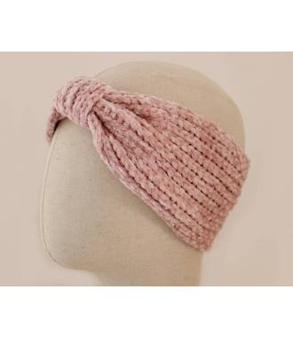 Headband noeud maille chenille rose