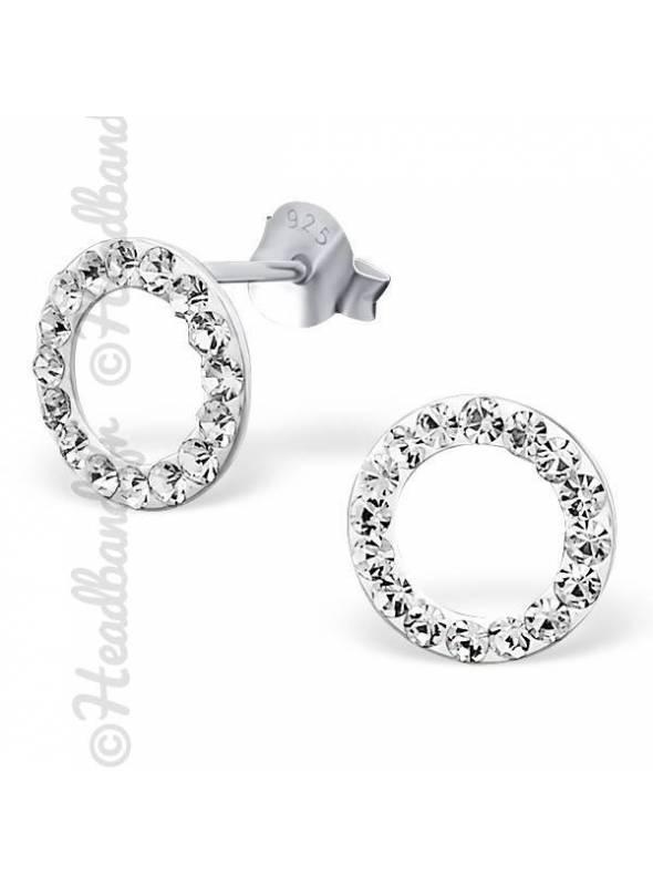 Clous d'oreilles argent 925 cercle strass blanc