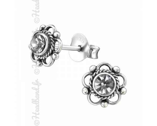 Clous d'oreilles fleur avec cristal Swarovski® black diamond