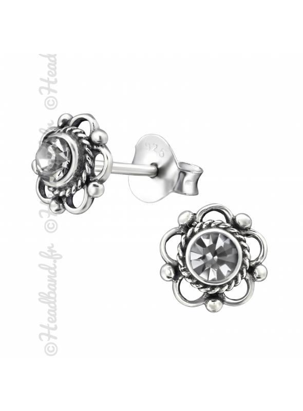 Clous d'oreilles fleur avec cristal Swarovski black diamond