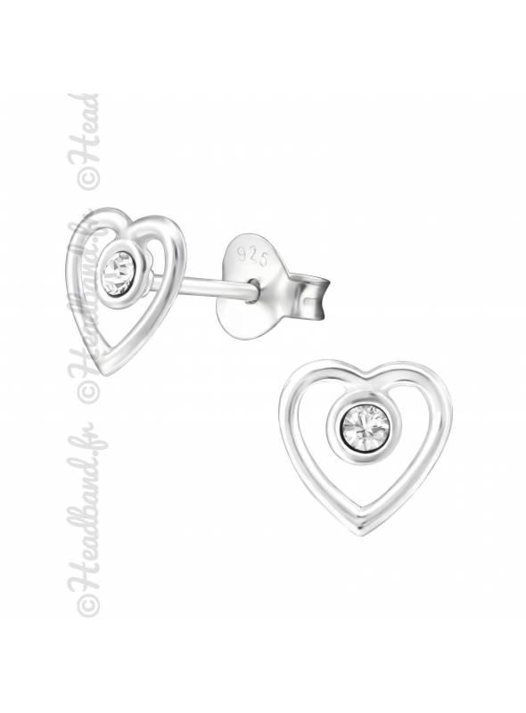 Clous d'oreilles coeur cristal Swarovski® blanc