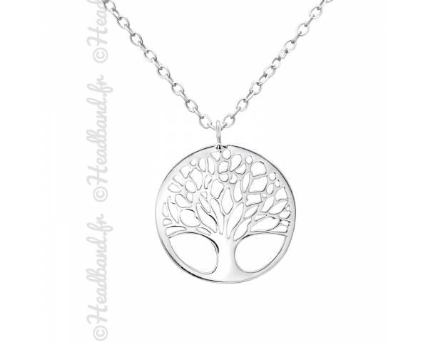 Collier argent massif avec médaillon arbre de vie