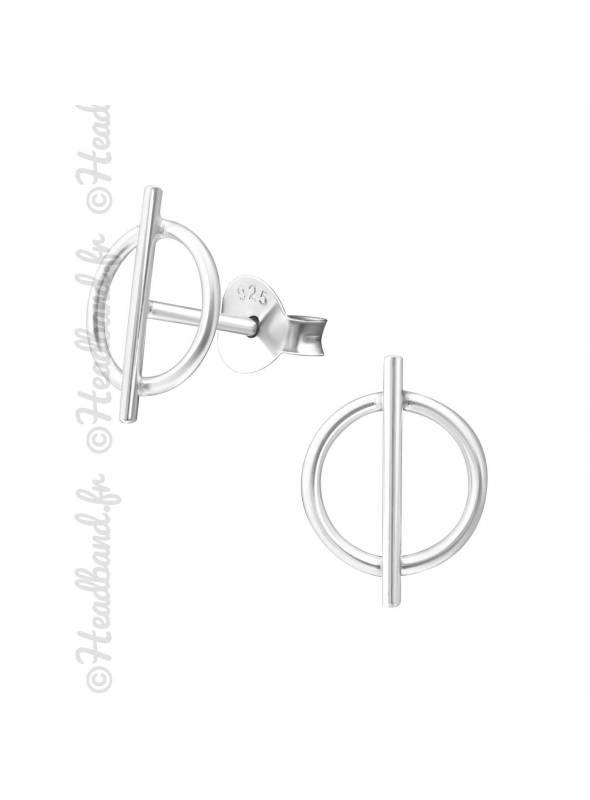 Clous d'oreilles cercle barré argent 925