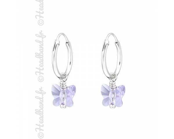 Créoles stud papillon avec cristal Swarovski® violet