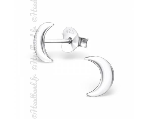 Clous d'oreilles motif lune argent 925