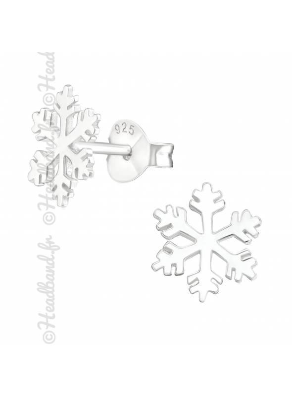 Clous d'oreilles motif flocon de neige argent 925