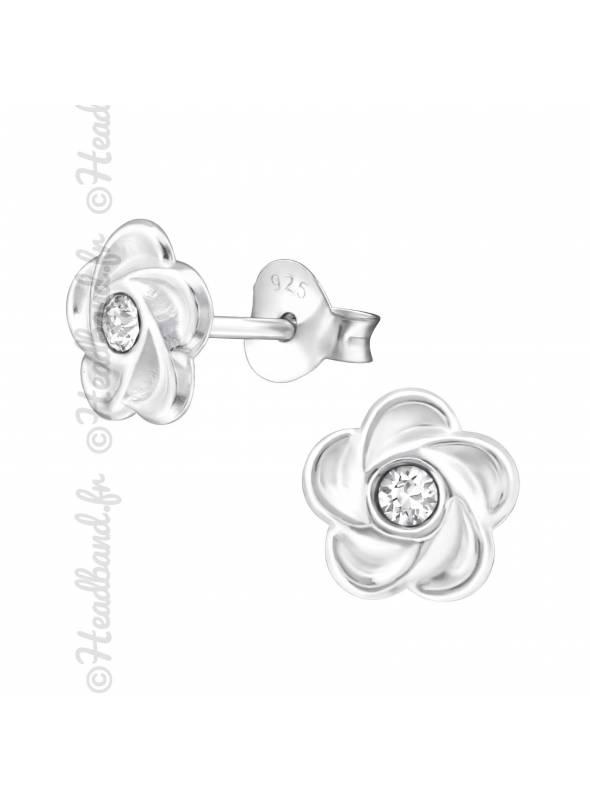Clous d'oreilles argent 925 fleur cristal Swarovski® blanc