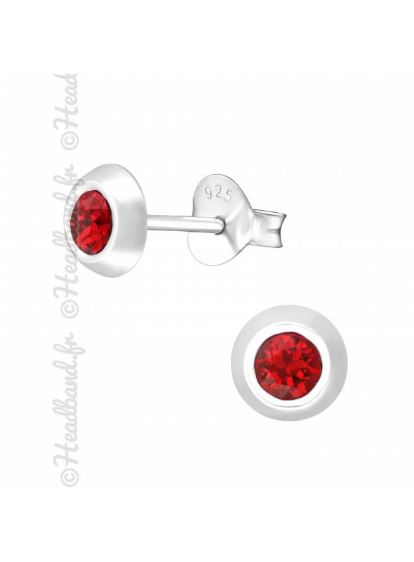 Clous d'oreilles argent 925 cristal Swarovski® rond rouge