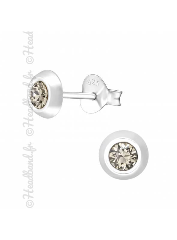 Clous d'oreilles argent 925 cristal Swarovski® rond greige