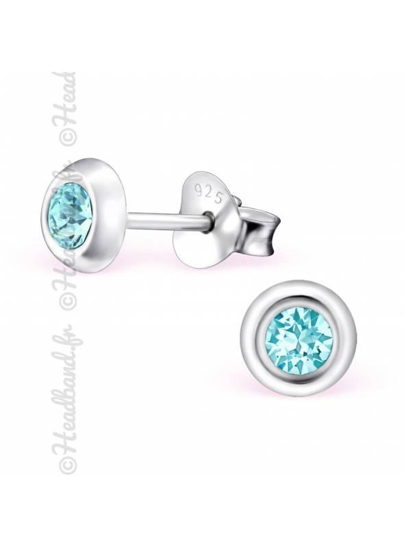 Clous d'oreilles argent 925 cristal Swarovski® rond turquoise