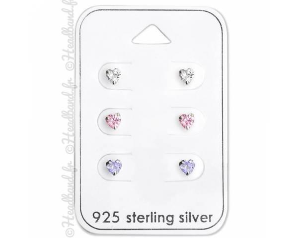 3 paires de clous d'oreilles coeur zirconium en argent