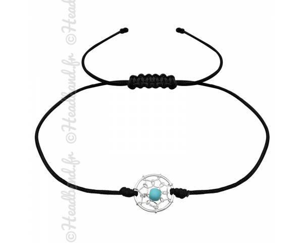 Bracelet cordon noir pendentif attrape-rêve argent
